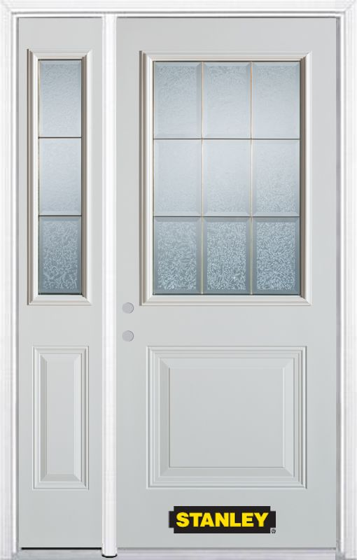 50-inch x 82-inch Diana 1/2-Lite 1-Panel White Steel Entry Door with Sidelite and Brickmould