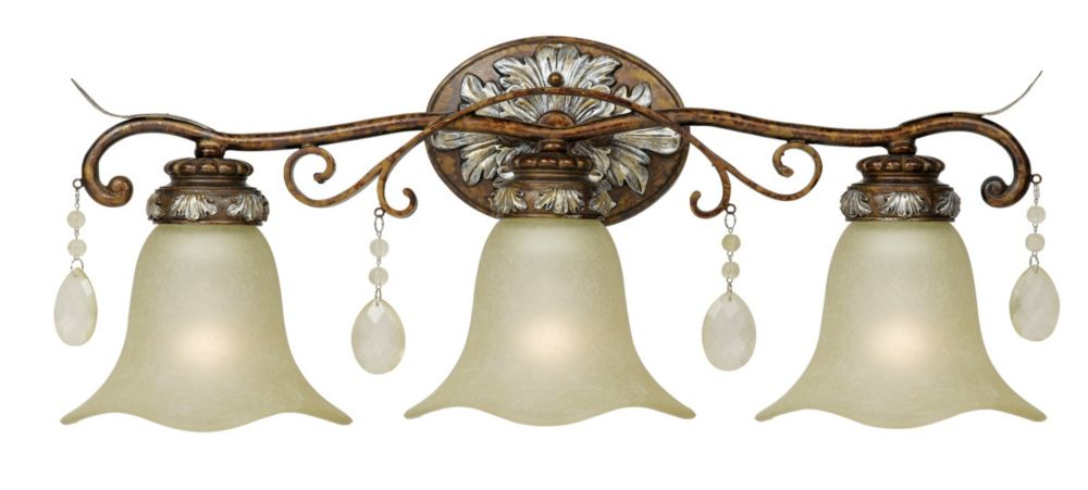 Luminaire de salle de bain à trois lampes au fini bronze oxydé avec accents argentés