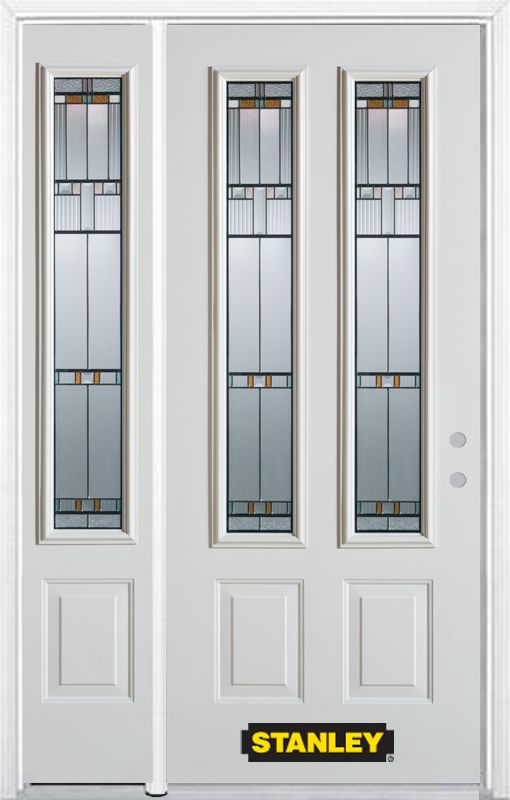 52-inch x 82-inch Chicago 2-Lite 2-Panel White Steel Entry Door with Sidelite and Brickmould
