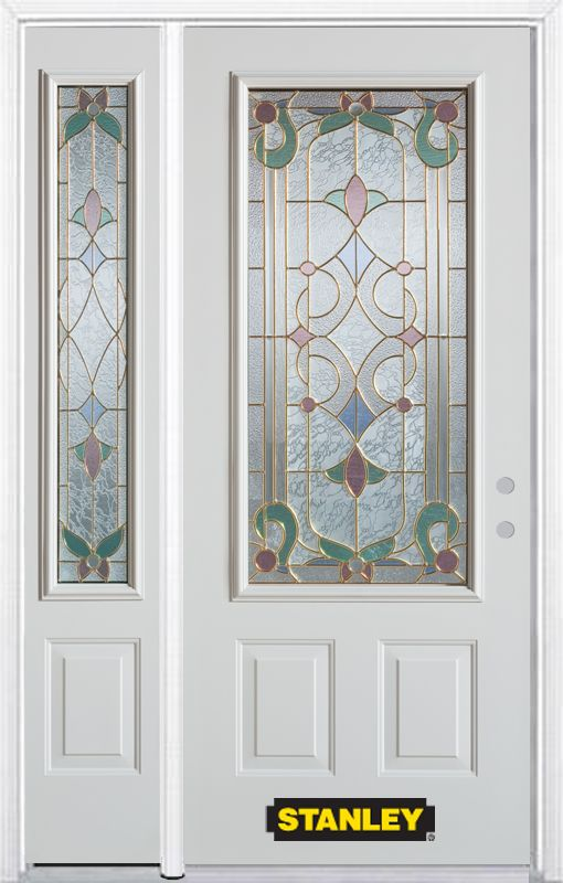 48-inch x 82-inch Aristocrat 3/4-Lite 2-Panel White Steel Entry Door with Sidelite and Brickmould