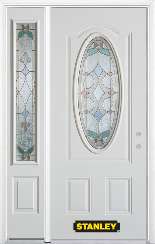 Stanley Doors 48.25 inch x 82.375 inch Aristocrat Brass 3/4 Oval Lite 2-Panel Prefinished White Left-Hand Inswing Steel Prehung Front Door with Sidelite and Brickmould