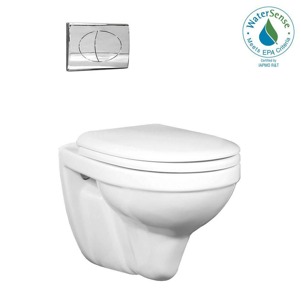 2-piece 0.8/1.6 GPF Dual Flush Round Bowl Toilet in White