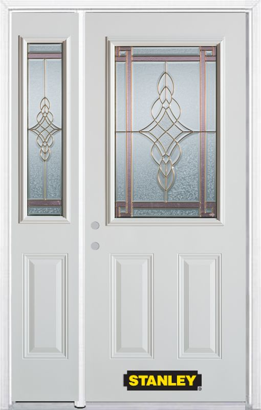 48-inch x 82-inch Milano 1/2-Lite 2-Panel White Steel Entry Door with Sidelite and Brickmould