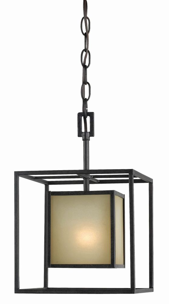 Suspension à une lampe au fini bronze vieilli de la Collection Hilden, 120 po