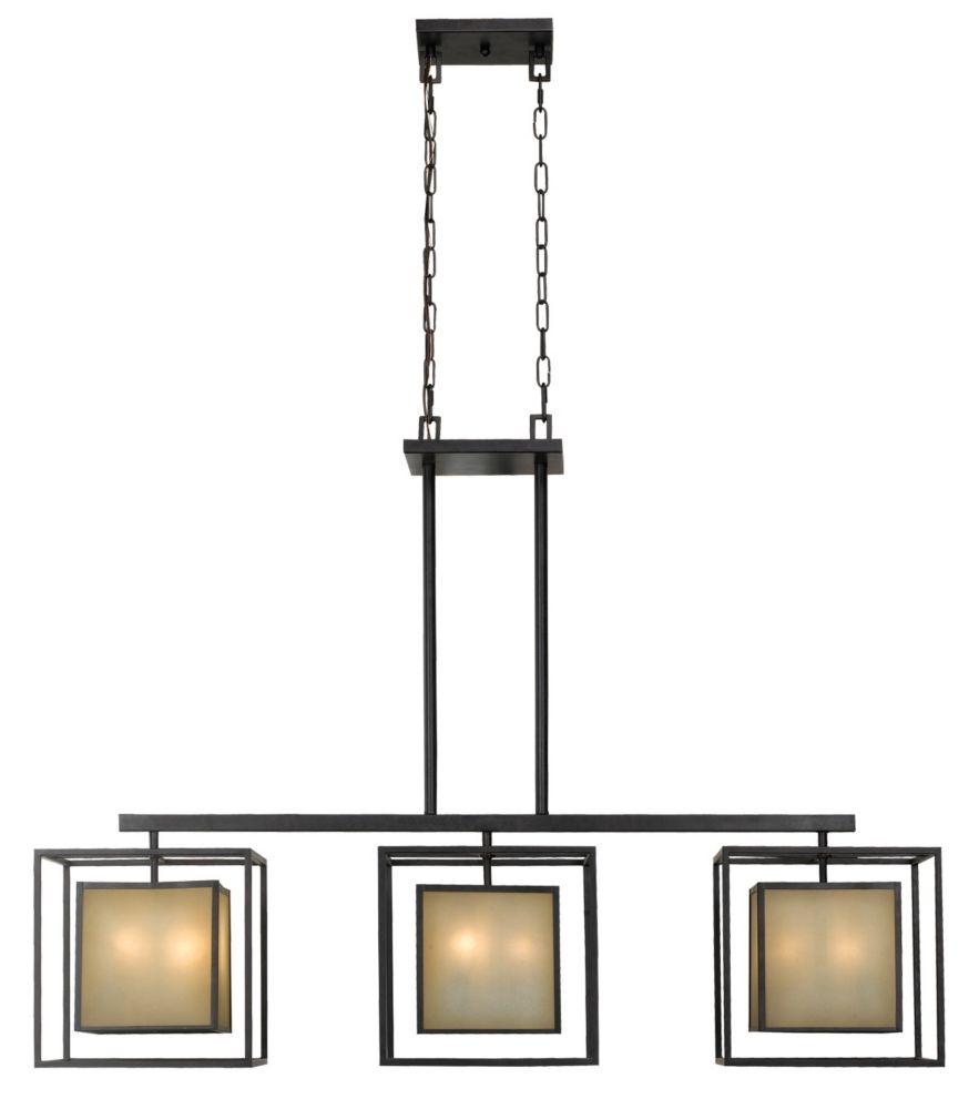 Suspension pour îlot à neuf lampes au fini bronze vieilli de la Collection Hilden, 120 po