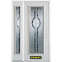 Stanley Doors Porte dentrée en acier préfini en blanc, munie d'un panneau de verre, 49 po x 82 po avec panneaux latéraux et moulure de brique