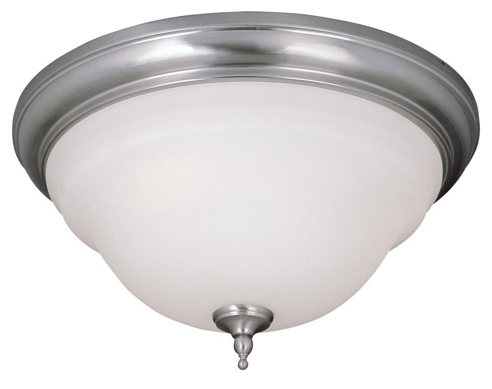 Luminaire affleurant à deux lampes au fini nickel satiné