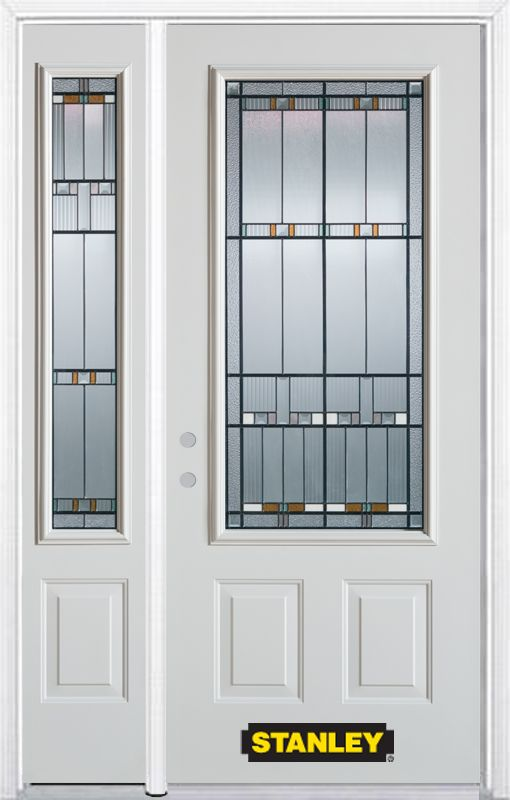 48-inch x 82-inch Chicago 3/4-Lite 2-Panel White Steel Entry Door with Sidelite and Brickmould