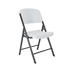 Commercial Contoured Outdoor Folding Chair in White Granite (4-Pack)
