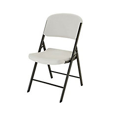 Commercial Contoured Outdoor Folding Chair in Almond (4-Pack)