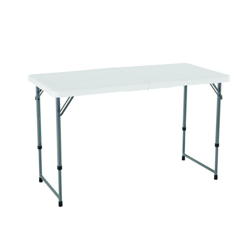 Lifetime 24-inch x 48-inch White Granite Adjustable Height Fold-In-Half Table