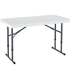 Lifetime 4 ft. Adjustable Folding Table, White Granite