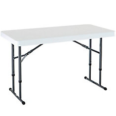 4 ft. Adjustable Folding Table, White Granite