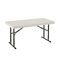 Lifetime 24-inch x 48-inch Almond Adjustable Height Commercial Folding Table