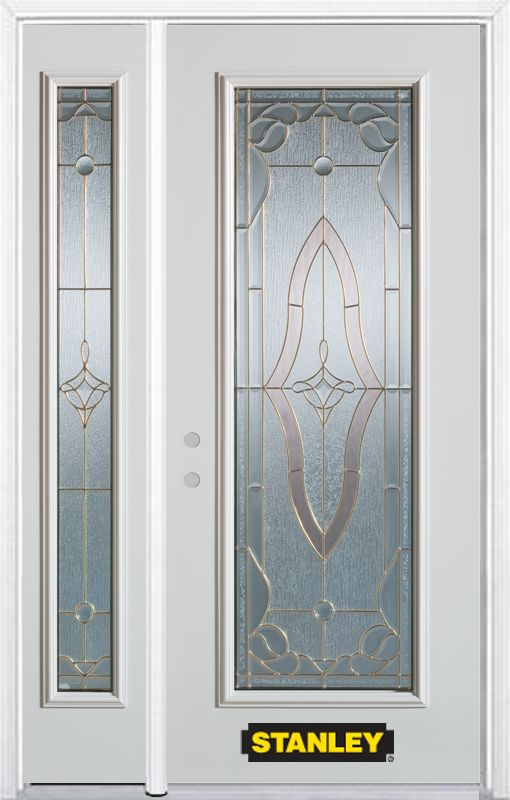 Stanley Doors 48.25 inch x 82.375 inch Florence Brass Full Lite Prefinished White Right-Hand Inswing Steel Prehung Front Door with Sidelite and Brickmould - ENERGY STAR®