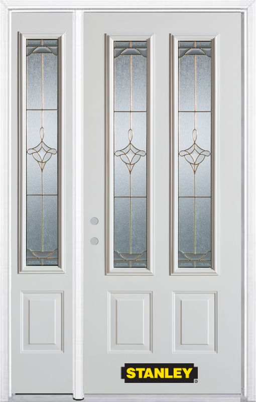 50-inch x 82-inch Florence 2-Lite 2-Panel White Steel Entry Door with Sidelite and Brickmould
