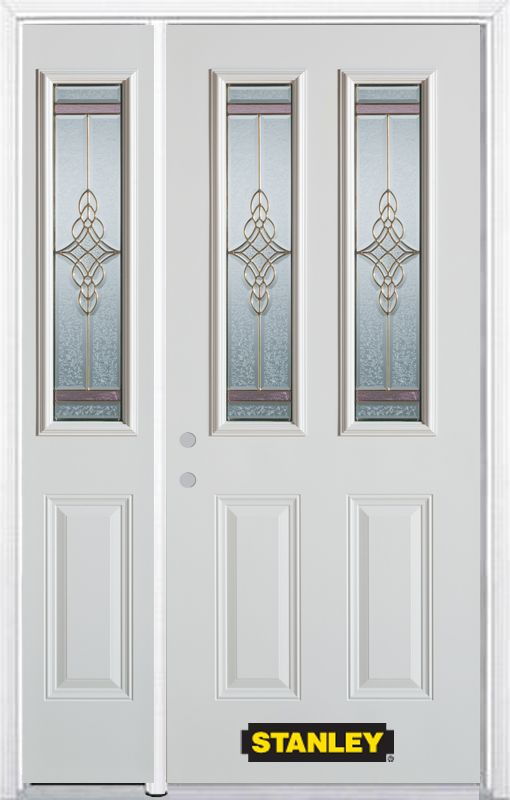 52-inch x 82-inch Milano 2-Lite 2-Panel White Steel Entry Door with Sidelite and Brickmould