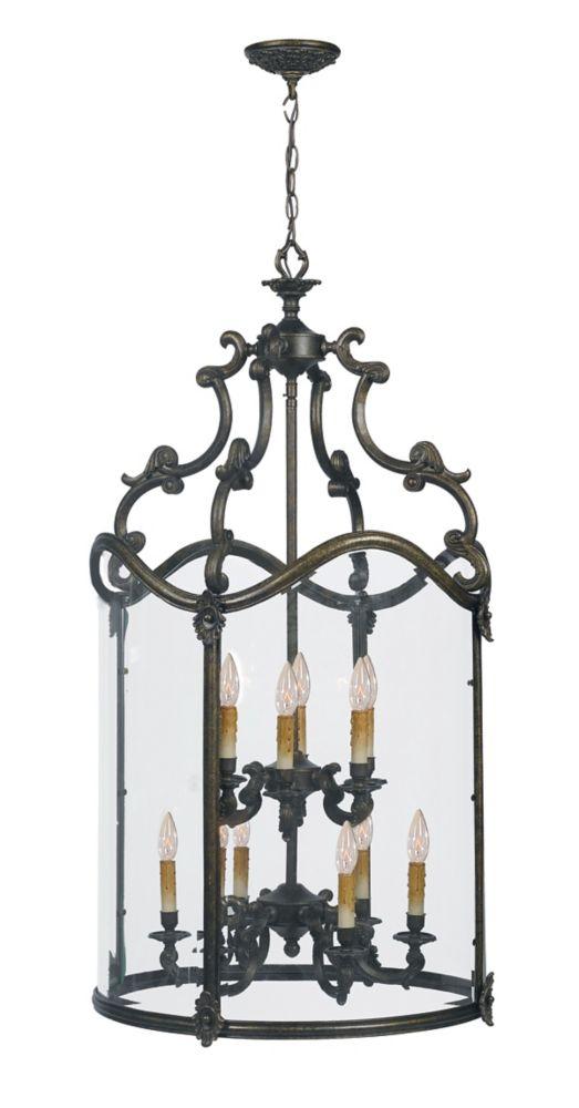 Suspension dentrée à douze lampes au fini bronze français de la Collection Venezia, 120 po