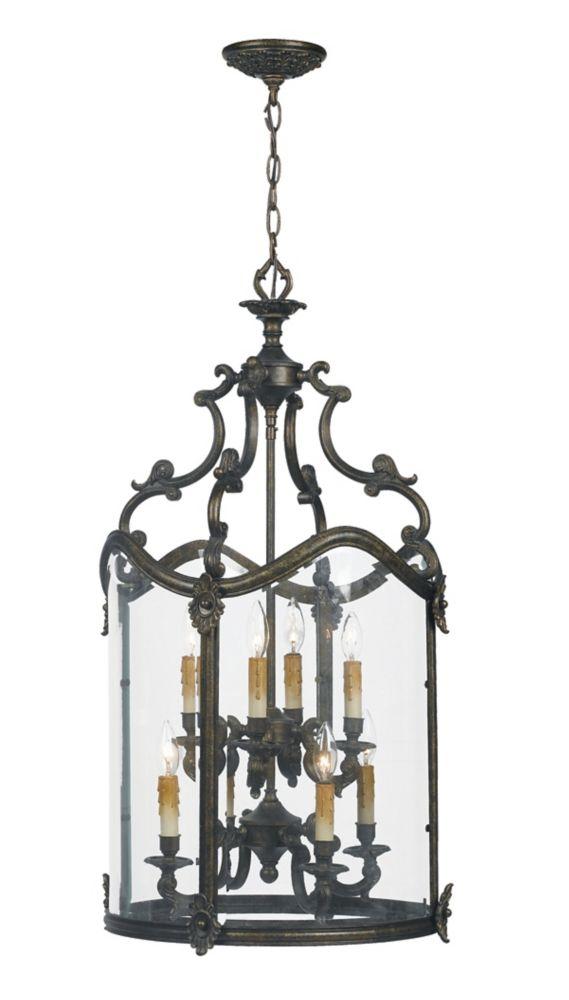 Suspension dentrée à huit lampes au fini bronze français de la Collection Venezia, 120 po