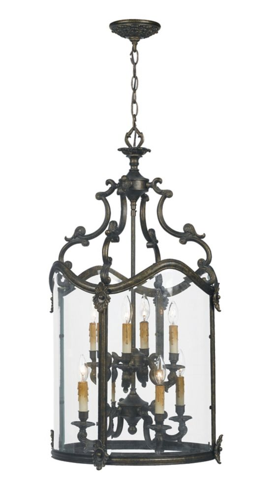 Venezia Collection 8-Light 120 in. Hanging French Bronze Foyer Pendant