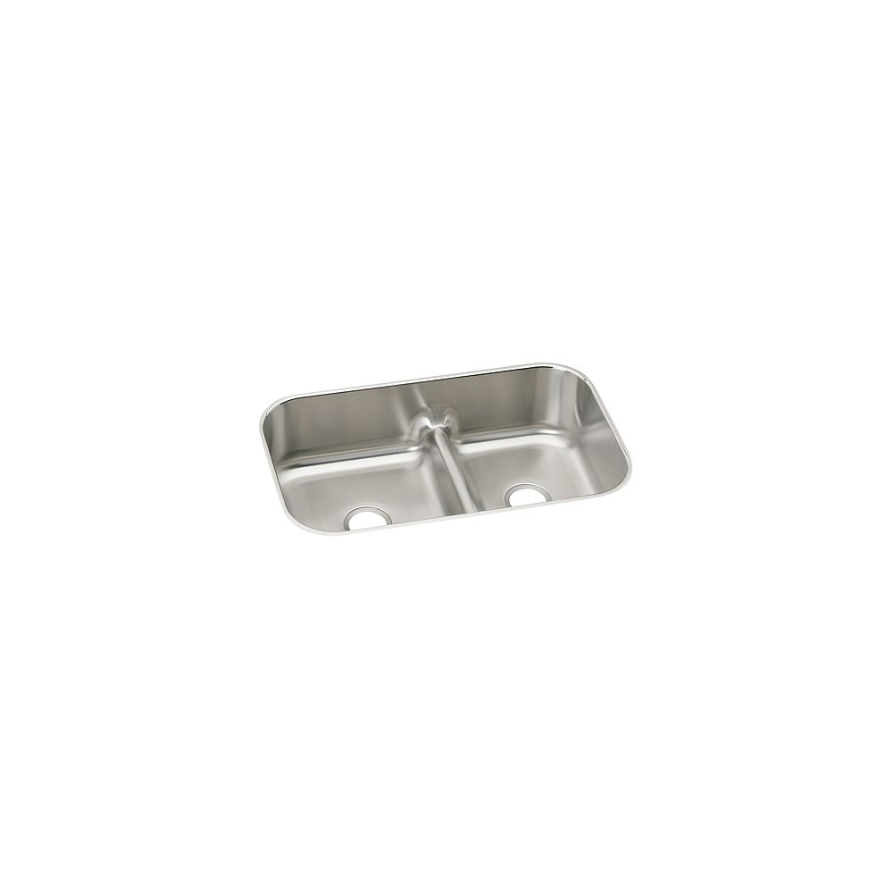 Elkay One And A Half Bowl Undermount Sink, Brushed Satin 18 Gauge Stainless Steel, Custom x 21 1/8 Inch x 8 Inch Deep