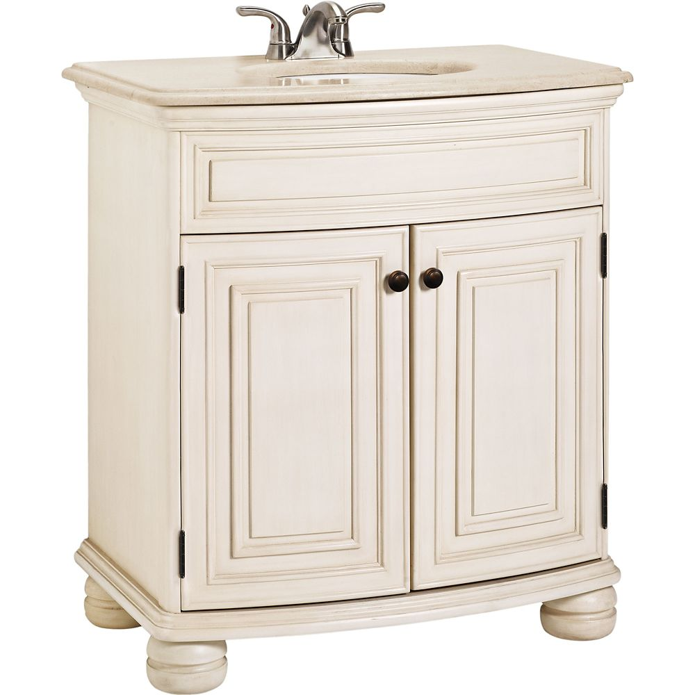 Celeste Vanilla Vanity with Crème Hand-crafted Stone Vanity Top - 31 Inch Wide
