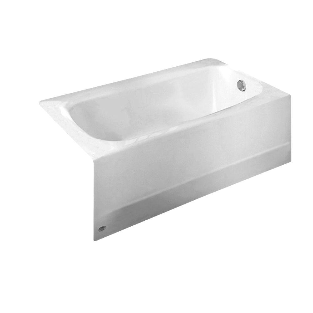 Cambridge 5 Feet Americast Bathtub with Right-Hand Drain in White