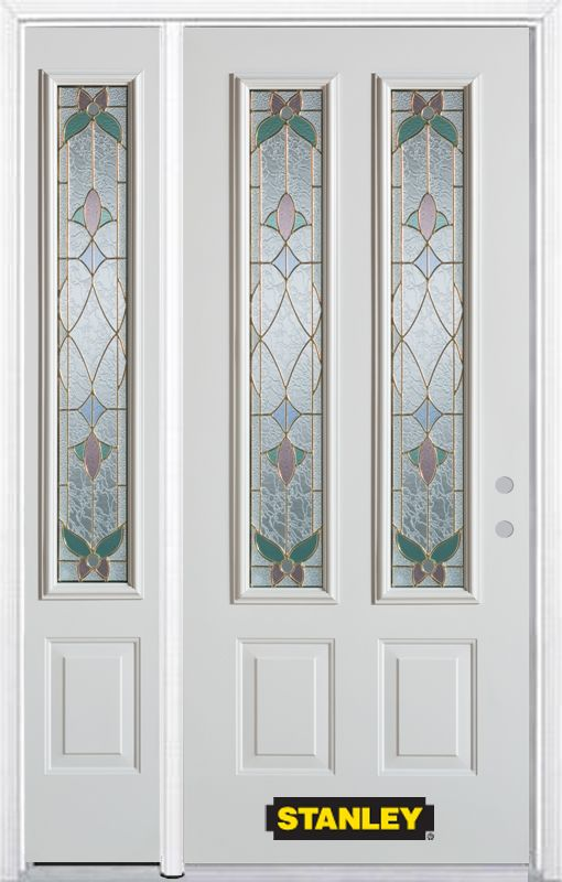48-inch x 82-inch Aristocrat 2-Lite 2-Panel White Steel Entry Door with Sidelite and Brickmould