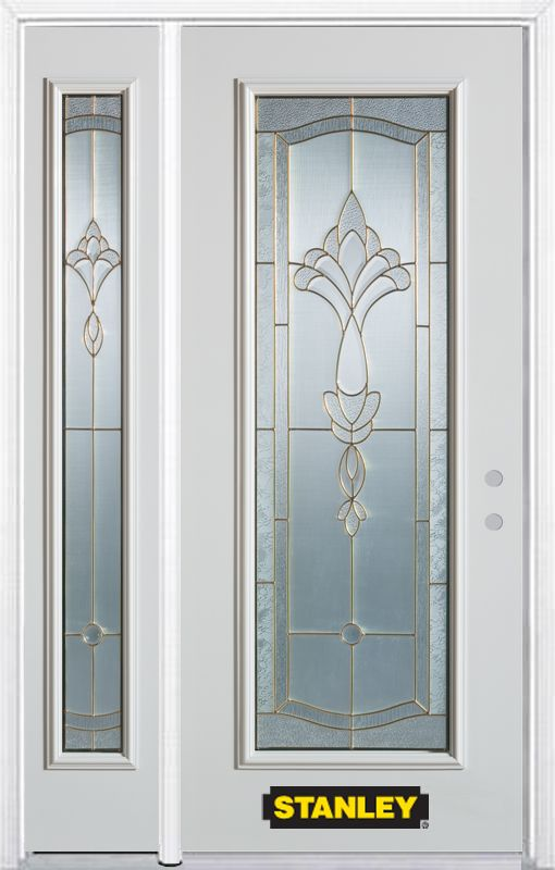 Stanley Doors 48.25 inch x 82.375 inch Karina Brass Full Lite Prefinished White Left-Hand Inswing Steel Prehung Front Door with Sidelite and Brickmould