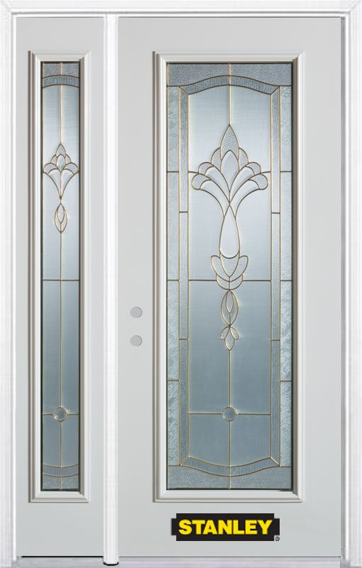 50-inch x 82-inch Karina Full Lite White Steel Entry Door with Sidelite and Brickmould