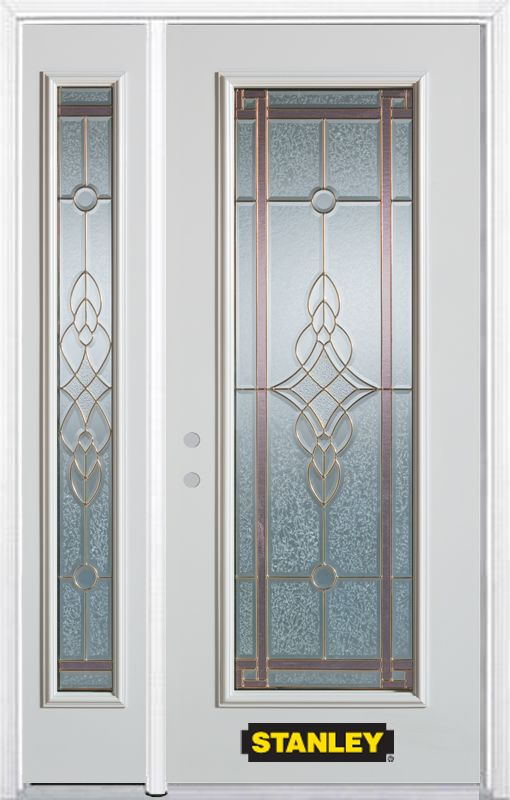 52-inch x 82-inch Milano Full Lite White Steel Entry Door with Sidelite and Brickmould