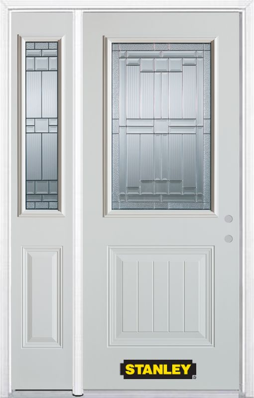 48-inch x 82-inch Seattle 1/2-Lite 1-Panel White Steel Entry Door with Sidelite and Brickmould