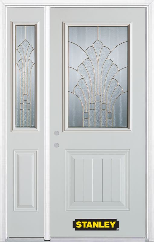52-inch x 82-inch Gladis 1/2-Lite 1-Panel White Steel Entry Door with Sidelite and Brickmould
