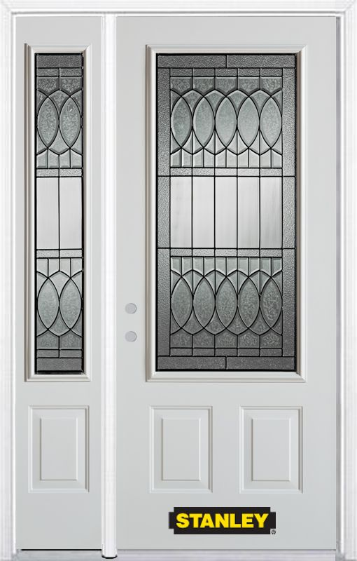 Stanley Doors 48.25 Inch X 82.375 Inch Chatham Patina 3/4 Lite 2 Panel  Prefinished White Right Hand Inswing Steel Prehung Front Door With Sidelite  And ...