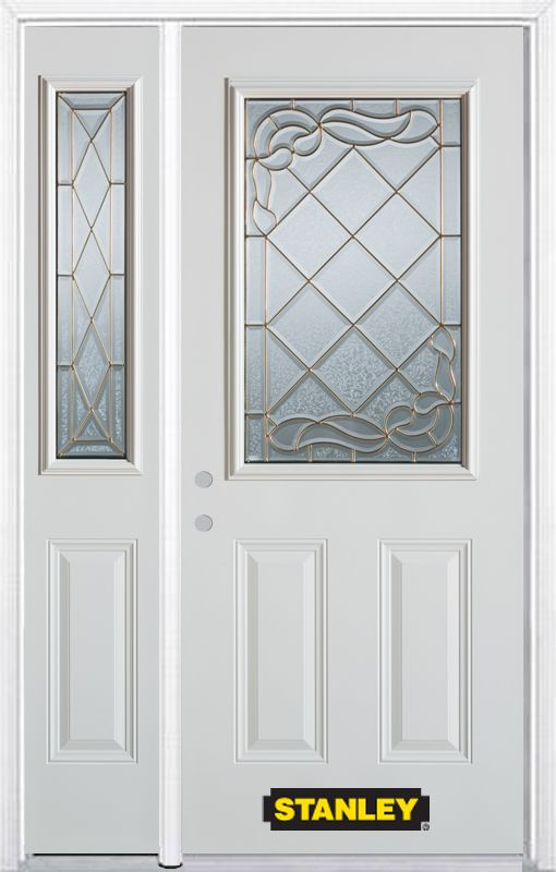 52-inch x 82-inch Queen Anne 1/2-Lite 2-Panel White Steel Entry Door with Sidelite and Brickmould