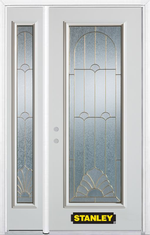52-inch x 82-inch Florentine Full Lite White Steel Entry Door with Sidelite and Brickmould