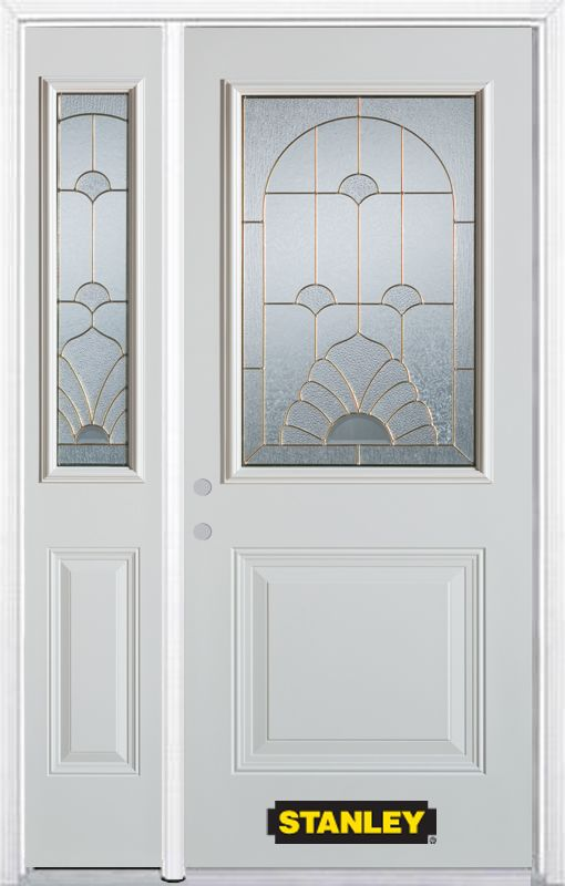 48-inch x 82-inch Florentine 1/2-Lite 1-Panel White Steel Entry Door with Sidelite and Brickmould