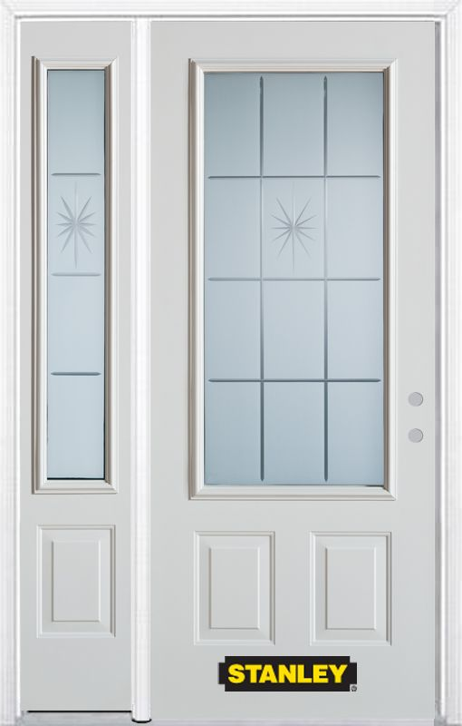 50-inch x 82-inch Beaujolais 3/4-Lite 2-Panel White Steel Entry Door with Sidelite and Brickmould