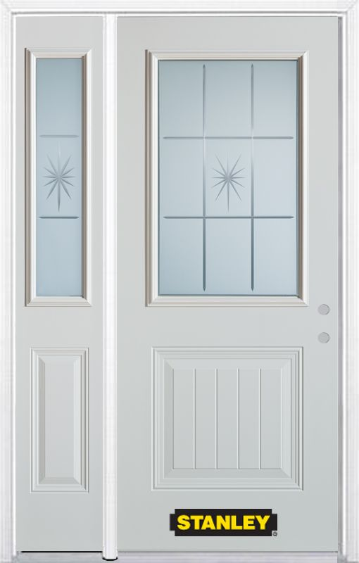 Stanley Doors 52.75 inch x 82.375 inch Beaujolais 1/2 Lite 1-Panel Prefinished White Left-Hand Inswing Steel Prehung Front Door with Sidelite and Brickmould
