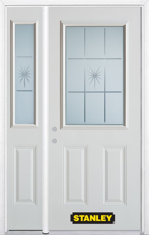 stanley doors 48 inch x 82 inch beaujolais 1 2 lite 2 panel white steel entry door with sidelite