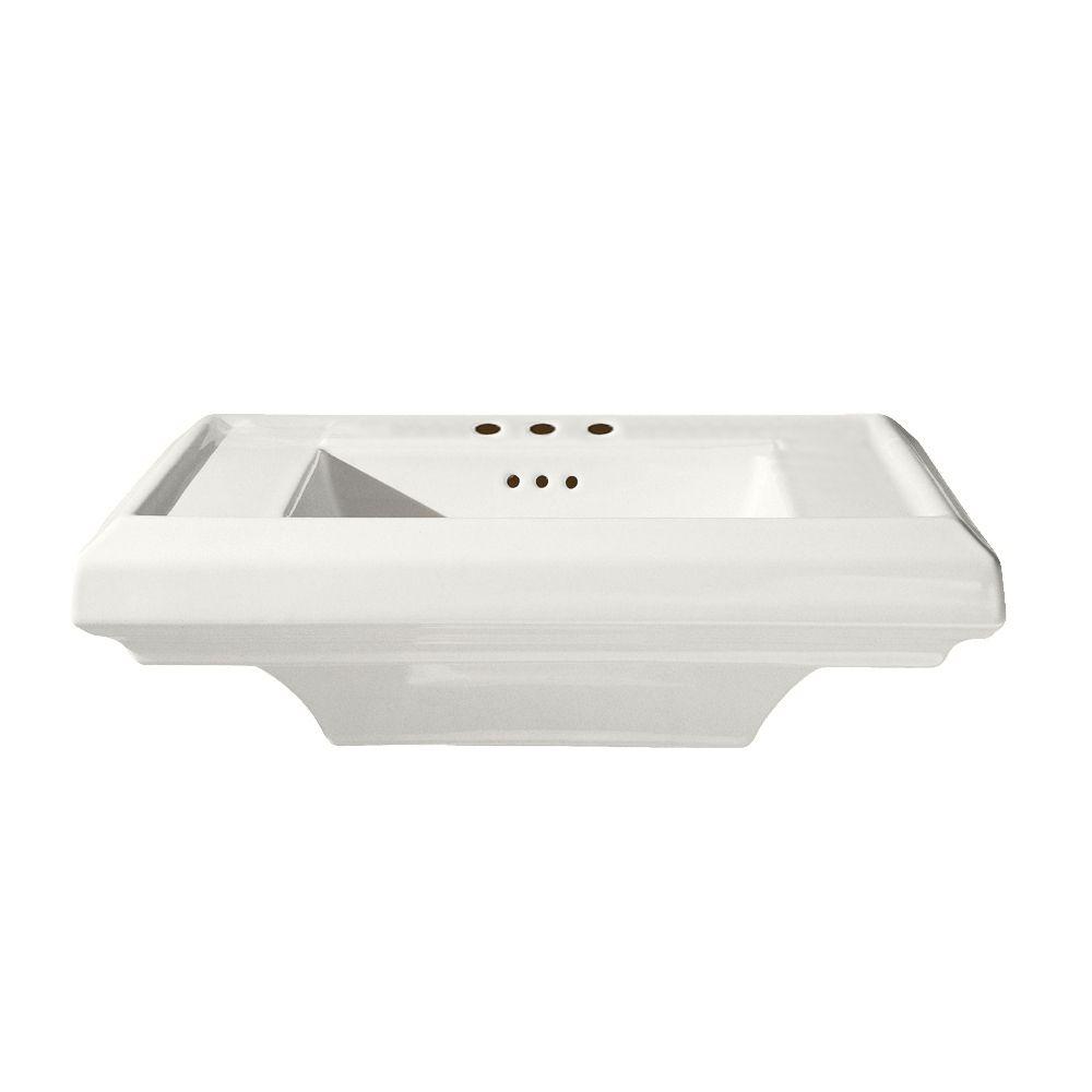 Lavabo sur piédestal de 24 po Town Square<sup>®</sup> avec trous de robinet de 8 po, blanc