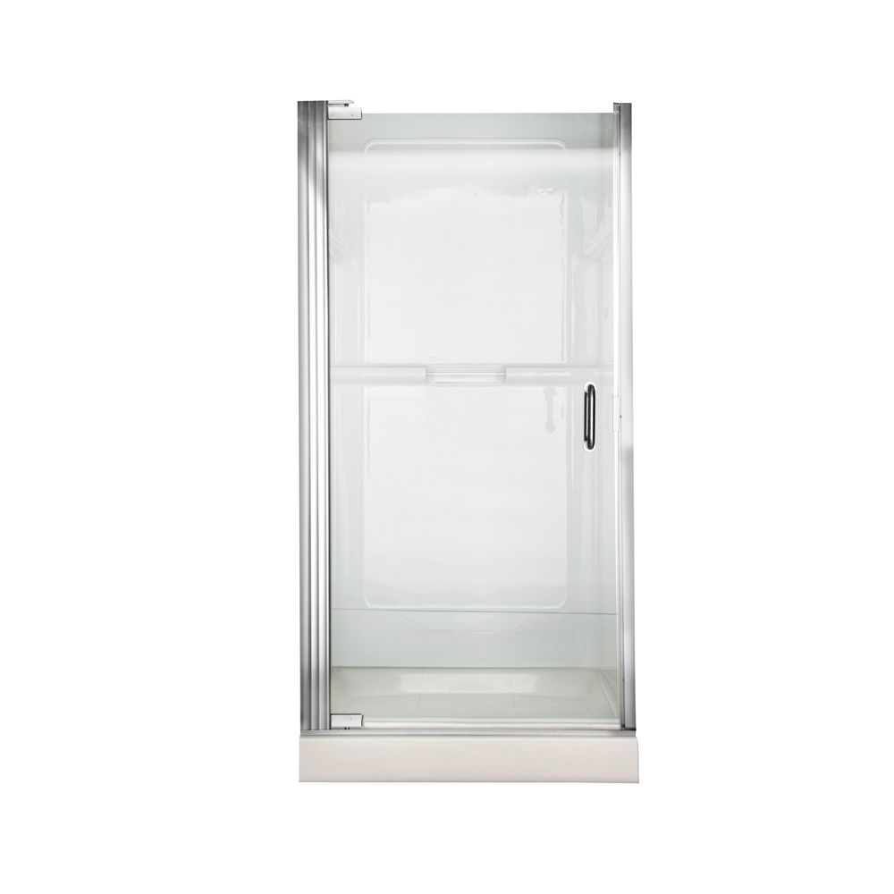 Euro 25.4375 Inch W x 65.5625 Inch H Frameless Continuous Hinge Pivot Shower Door in Silver with ...