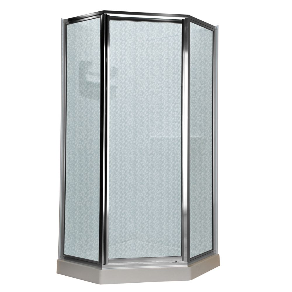 Prestige 18.4375 Inch x 24.25 Inch x 18.4375 Inch x 68.5 Height Neo-Angle Shower Door in Silver a...