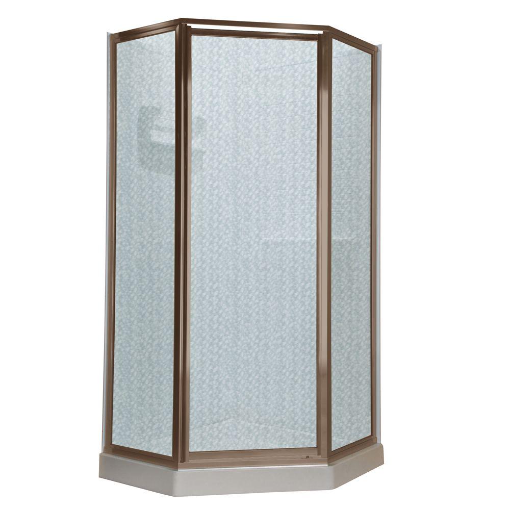 Portes à néo-angle, 18 1/2 po x 24 po x 18 1/2 po x 72 po en verre martelé