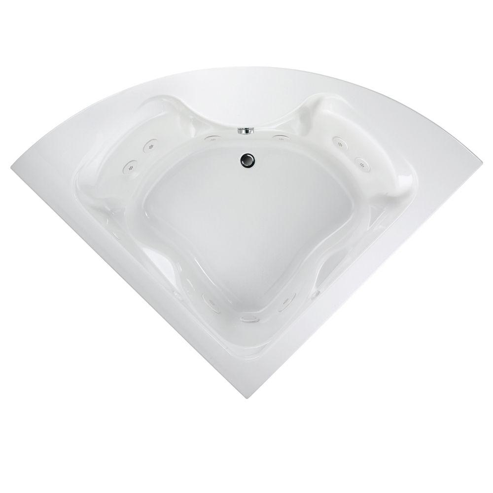 Lifetime Cadet 5 Feet Corner EverClean<sup>®</sup> Whirlpool Bathtub with Centre Drain in White