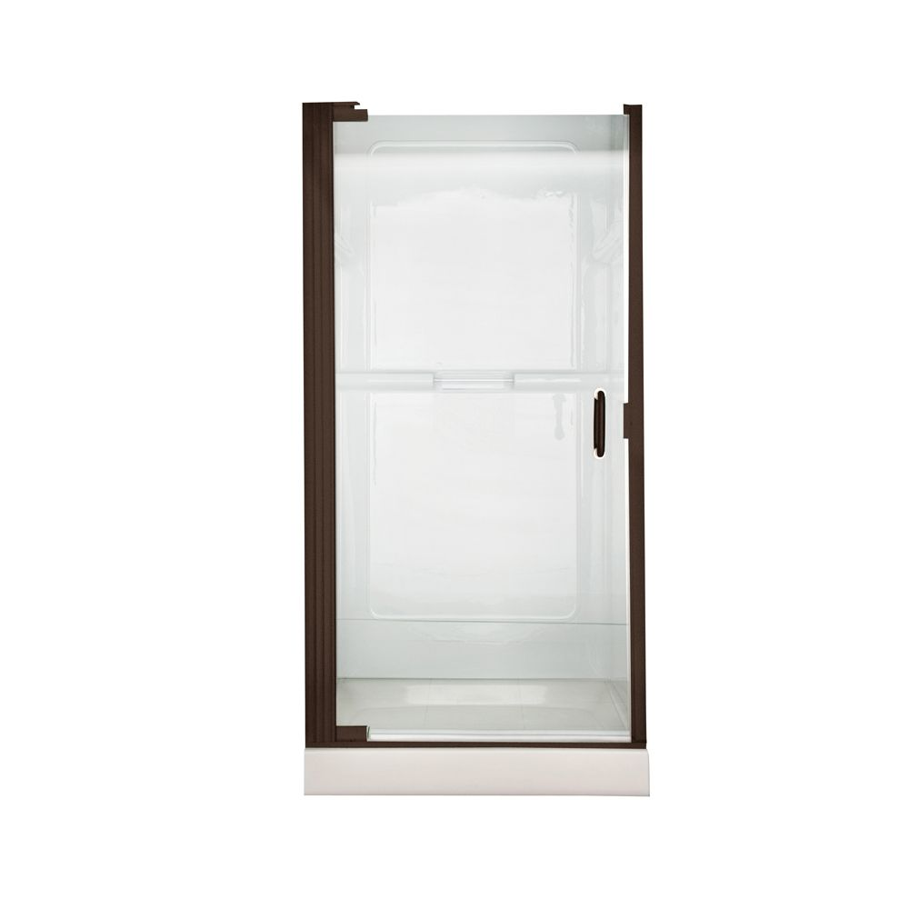 Euro 25.4 Inch W x 65.5 Inch H Frameless Cont Hinge Pivot Shower Door in Oil-Rubbed Bronze Finish...