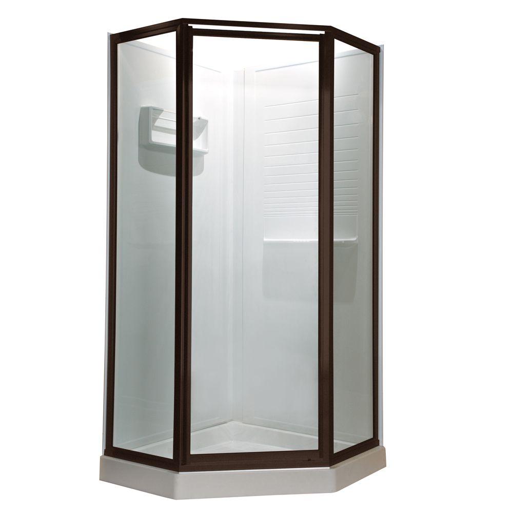 Prestige 18.4 Inch x 24.2 Inch x 18.4 Inch x 68.5 H Neo-Angle Shower Door in Oil-Rubbed Bronze wi...
