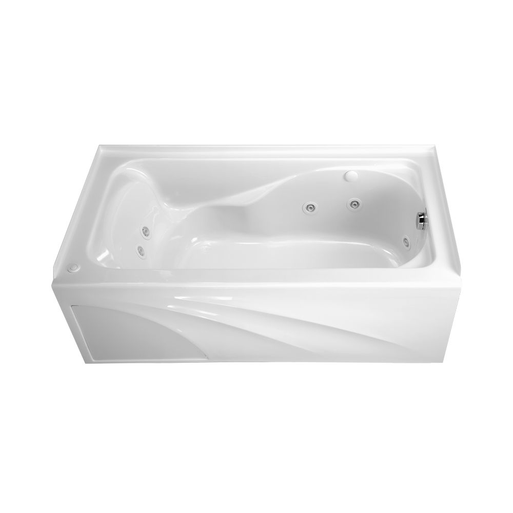 Cadet 5 Feet EverClean<sup>®</sup> Whirlpool Bathtub with Integral Apron and Left Drain in White