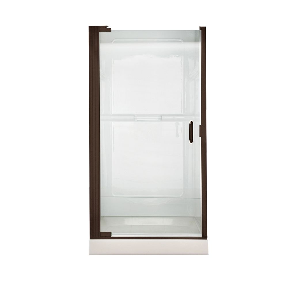 Euro 36 Inch W x 65 Inch H Frameless Continueous Hinge Pivot Shower Door in Oil Rubbed Bronze wit...