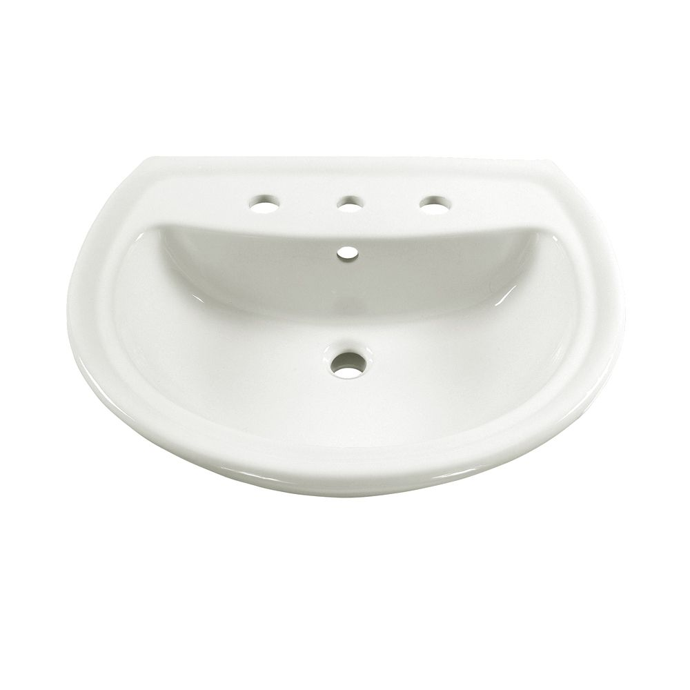 Cadet 6-inch Bathroom Pedestal Sink Basin with 8-inch Faucet Centres in White